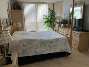 Queen-size bed with headboard and footboard in Birchwood