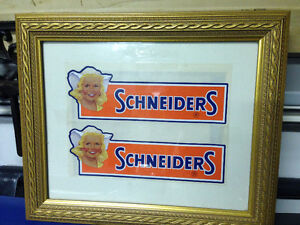 VINTAGE SCHNEIDERS MEATS SET OF 2 DECALS FRAMED DUTCH GIRL
