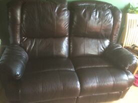 Real leather sofa recliner