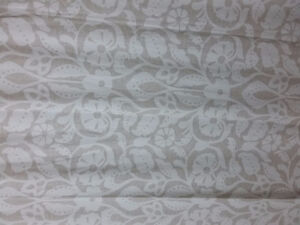 Fabric beige white printed shower curtain NEW