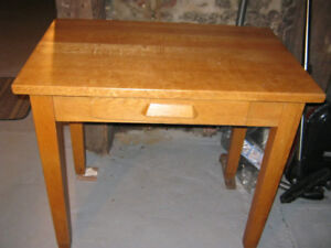 VINTAGE  SOLID OAK TABLE AND CAPTAINS CHAIR