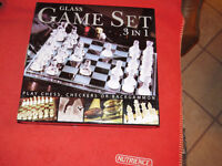 Glass Game Set 3 in 1...Chess, Checkers and Backgammon