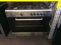 Stainless steel baomatic 90cm five burners gas cooker grill & oven good condition with guarantee