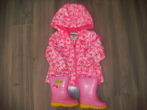 12 Month Oshkosh Spring Jacket and Size 6 Rubber Boots