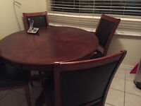Dinette table four sturdy chairs