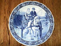Delft Plate Horse Carriage Blue & White - 15.75 inches