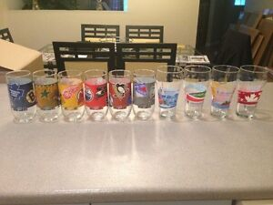 Vancouver 2010 Olympic Coca Cola and Cheez Whiz NHL Glasses