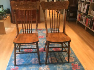 Shabby Chic, Country, Antique, 10 Oak press back chairs $50 each