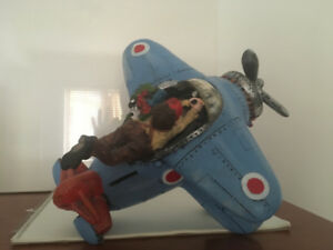 Ceramic Coin Bank - Blue Airplane with Pilot