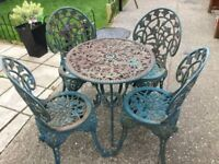Garden table and chairs heavy iron