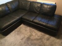 Genuine leather. Black corner sofa