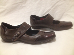 Womens Dark Brown Genuine Leather Mary Jane Shoes by DorKing 39M