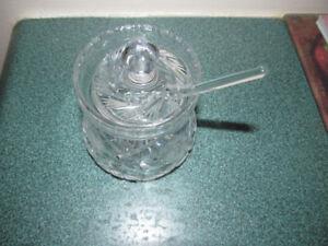 Pinwheel crystal Sugar dish with lid and spoon