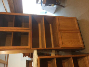 Oak entertainment unit and book shelves