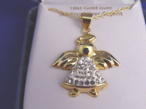 New 18K Gold Over Sterling Silver Angel Pendant Crystals Dress