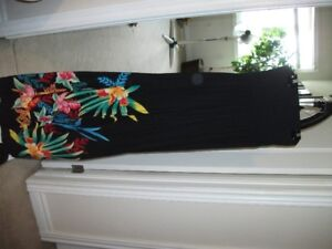 BLACK MAXI SUMMER DRESS WITH FLOWERS AT BOTTOM SZ. SM .