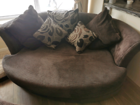 Large cuddler chair with half moon foot stool