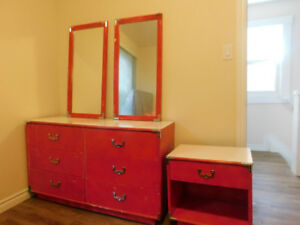 Full size dresser with mirrors & two night tables
