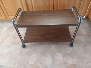 Serving cart on wheels 20 inches high by 29 inches long