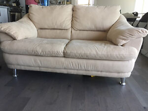 Two Luxurious 2 (or 3) Seat Cloth Sofa Chrome or Wood Legs
