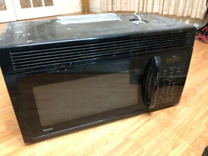 "Frigidaire black 30"" over the range microwave hood fan light"