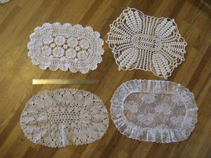 4 Assorted Large Oval Doilies - great for vintage wedding decor.