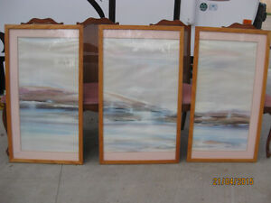 Three paneled contempory Water Color