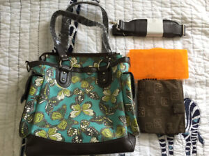 Brand New Diaper Bag - Fleurville Lexie Tote - Teal Butterfly