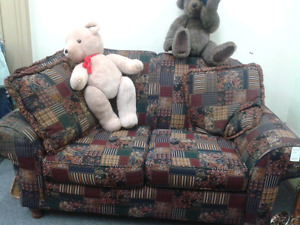 Skylar Pepper loveseat and chair at Second Stage