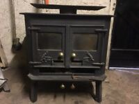 Wood burning stove with flue