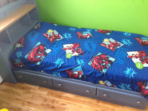 Twin Captains Bed with Headboard/Book Shelf and Dresser