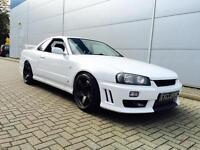 2000 W Reg Nissan Skyline R34 2.5 GTT Turbo + WHITE + est 360bhp + Coilovers +