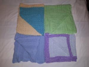 4 Knit/Crochet Baby Blankets,Crib,Stroller,Pram,Homemade EUC