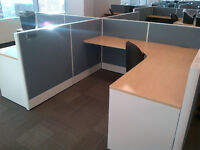 6.5' x 6.5' L-shaped Global Cubicles w/ BBF Ped