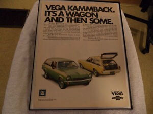 OLD VEGA CLASSIC CAR FRAMED ADS