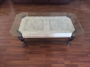 Living room glass table set, 1 large table and 1 coffee table