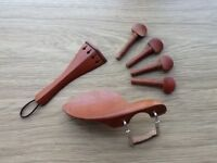 Violin chinrest, tailpiece and pegs - all matching