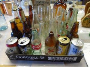 (1) Vintage Lot  of (25) Cans, Pop Bottles, Beer Bottles, etc.