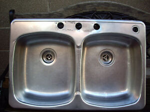 Kitchen Sink Double Sink with tail pieces