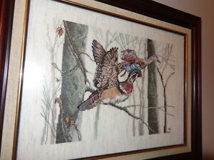 Cross Stitch of Wood Ducks, 17  x 14.5 (inches) in frame
