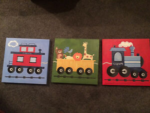 Pottery Barn train canvas paintings