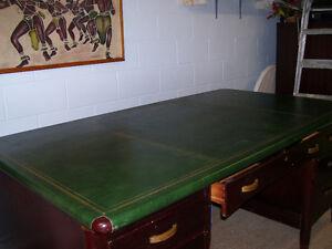 Regency solid wood pedestal desk with green leather desktop