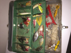 Vintage fishing lures and tackle box, ALW, Lucky Strike etc $100
