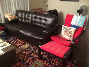 Leather black couch