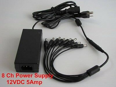 8 CHANNEL SPLITTER & 5AMP AC ADAPTER POWER SUPPLY BOX FOR CCTV CAMERAS