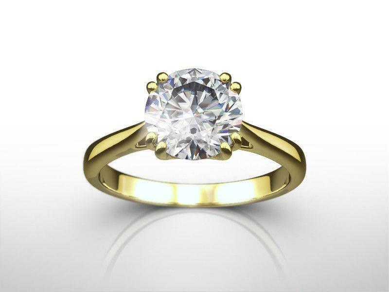 Agi Certified Solitaire Diamond Ring Round Cut 2 Ct Authentic 18 Kt Yellow Gold