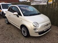 Fiat 500 1.3 lounge 09 Reg pearl white with red leather excellent condition £35 a week on finance