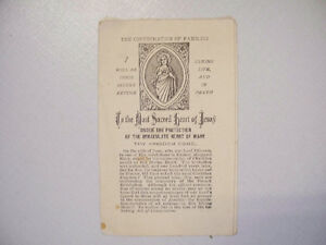 """""""The Consecration Of Families"""" vintage prayer document circa1889"""
