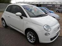2011Fiat 500 1.2 Sport 42K FSH White 1/2Leather Bluetooth Aircon Excellent Condi
