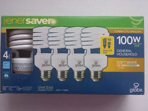4 New Bulbs, GLOBE enerSAVER, 23W for 100W, Softwhite